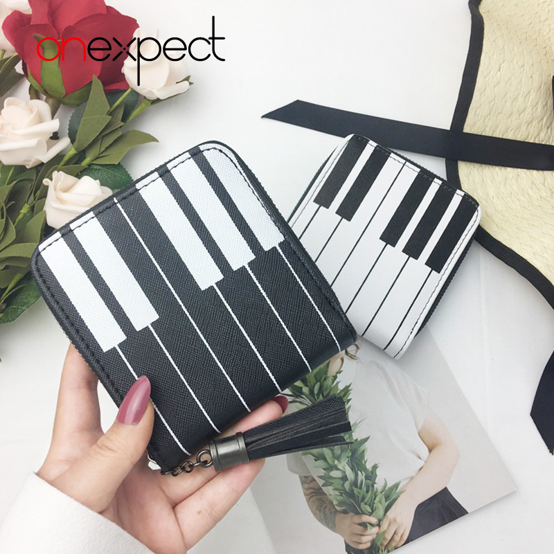 onexpect Women Purse Card Bag Creative Piano Pattern Pocket Money Bags Zip Small Fresh Short Wallet Brand New Contrast Color