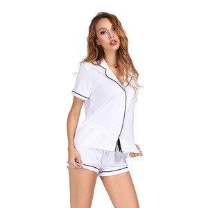 Image 3 - White Color Home Suit Set Short Sleeve With Shorts Pajamas Set Two Pcs Summer Casual Style 2019 Pijama Mujer Verano