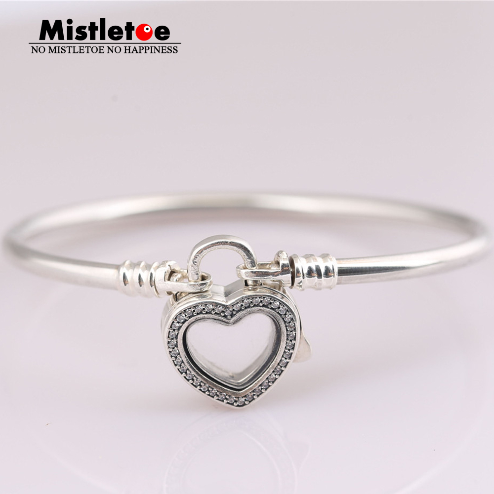 Mistletoe 925 Sterling Silver Silver Floating Heart Locket, Crystal Glass & Clear CZ Bracelet Jewelry Without little charm