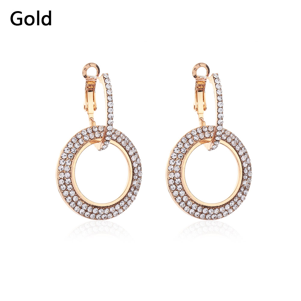 Charm Double Round Circle Flicker Bright Earrings Hoop Dangle