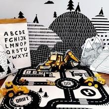ZSIIBO Детский ковер для детской комнаты, детский игровой коврик, городские коврики с изображением дорог, детские игрушки, водонепроницаемые складные Clim коврики WGYXD02