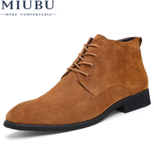 MIUBU Genuine Leather Men Ankle Boots Breathable High Top Shoes Outdoor Casual Winter Botas Homme
