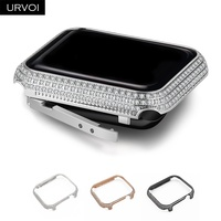 URVOI Glitter rhinestone case for Apple Watch series 4 3 2 1 cover metal bumper protector frame for iWatch case band luxury