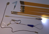 Kabel Zugang Kits 60 cm stangen mit haken, ringe, LED-licht, magnet, kette seilzug push zugstange sanke walzdraht puller