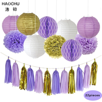 HAOCHU 22pcs 12 30cm Tissue Honeycomb Balls Gold White Chinese Round Paper Lantern Wedding Festival Event