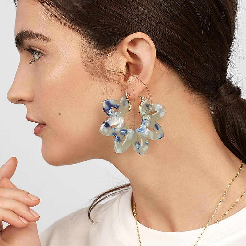 New Fashion Acrylic Leaf Drop Earring Women Large Tropical Plant Colorful Flower Resin Statement Dangle Earring Jewelry Brinco