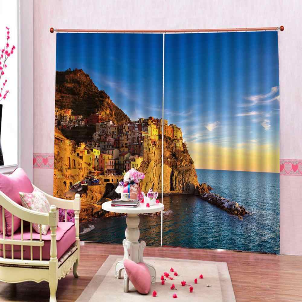 Luxury Blackout 3D Window Curtains For Living Room Bedroom blue sky and sea city curtains   Blackout curtain