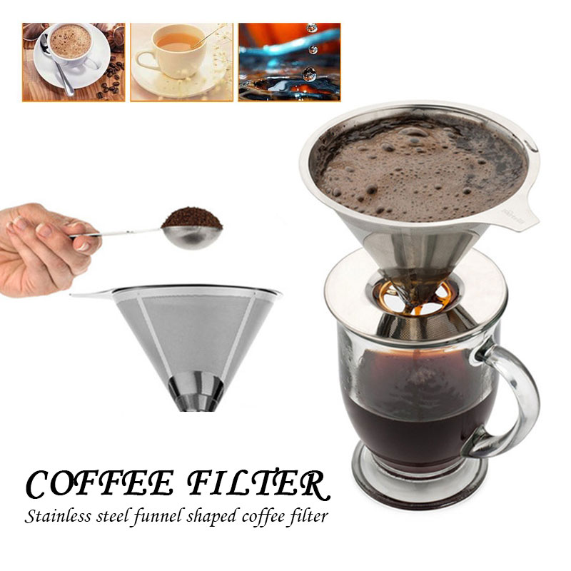 Reusable Kitchen Stainless Steel Coffee Filter Pour Over Coffee Funnel Brew Drip Tea Filters Metal Mesh Basket Tool Coffeeware