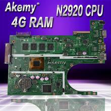 Akemy X200MA материнская плата для ноутбука ASUS X200MA F200M F200MA тестовая оригинальная материнская плата 4G-RAM N2920 4 ядра процессор