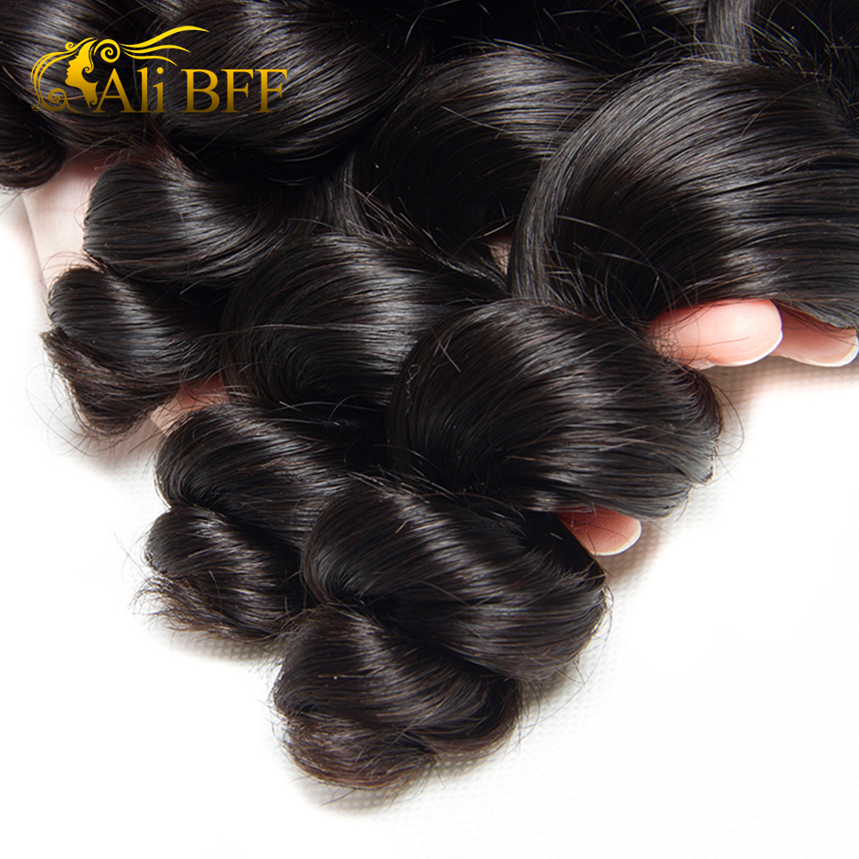 Loose Wave Bundle With Frontal Human Hair 3 Bundle With Lace Frontal Closure Remy Brazilian Hair Weave Bundle and Frontal