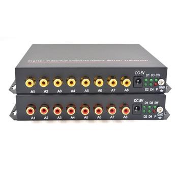 Alta calidad 8 canal HI fi audio Fibra medios ópticos Convertidores 8 RCA transmisor receptor solo modo 20 km- 1 par