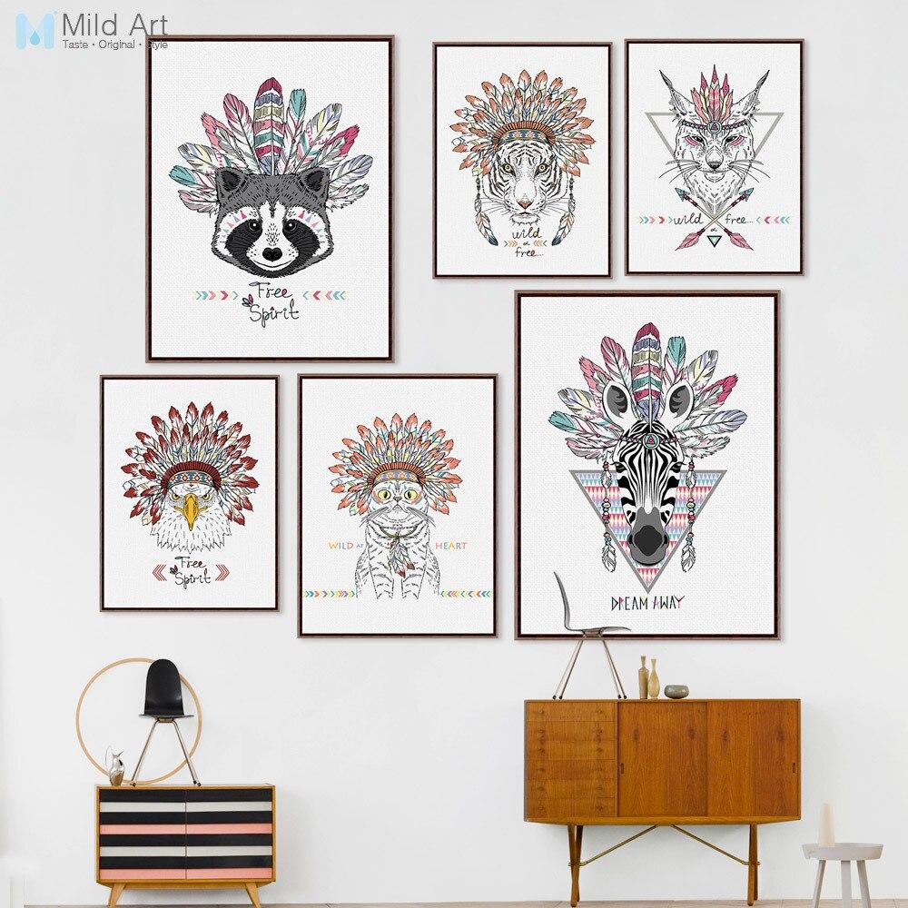 Moderní indická zvířata Head Deer Horse Zebra Plakát Tisk Skandinávský obývací pokoj Nástěnná malba Obrázek domů Dekor Malování na plátno Vlastní