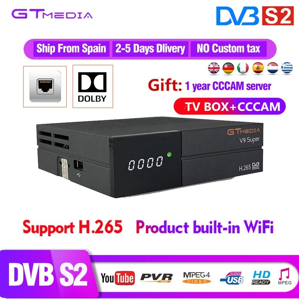Europen 1 an CCCAM 7 lignes GTMEDIA V9 Super Satellite TV récepteur DVB S2 FULL HD 1080 P Support Bisskey CCCAM Dolby H.265 TV BOX