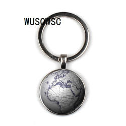 Позволяет тонкий земля географические карты мира семь Океании стекло время брелок глобусы Ретро Ключи цепи подвеска «сделай сам» фото