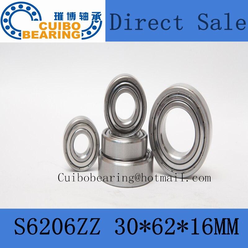Free Shipping 1PCS S6206ZZ Stainless Steel Bearing 30x62x16 Miniature 6206ZZ SS Ball Bearings S6206Z