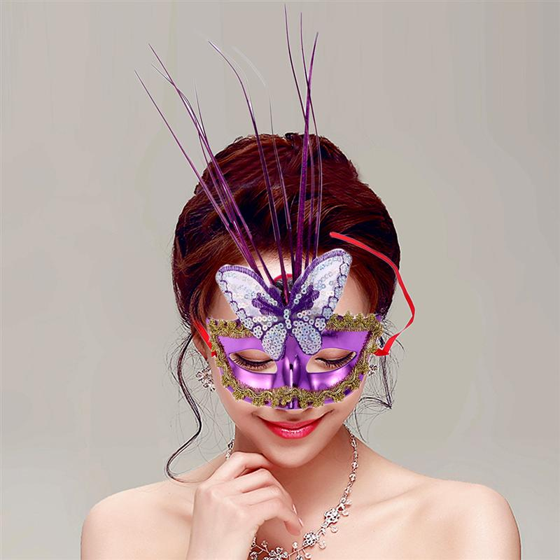 3pcs Glow Mask Feather Sexy Half Face Mask LED Dance Dress Up Bar Props Masquerade Dance Mask Illuminating Fiber Random Color in Party Masks from Home Garden