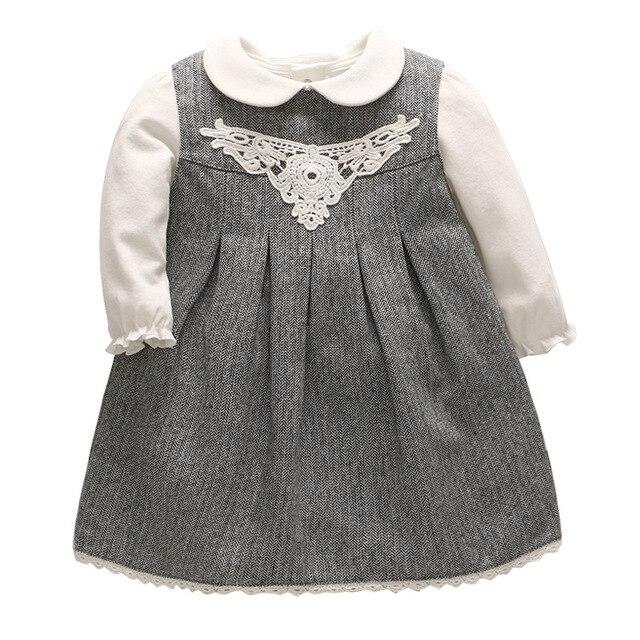a4baaedd7ae207 2019 wiosna Baby Girl odzież zestaw dziecko Stripped bawełniana sukienka  biały t-shirt ubrania dla