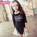 Korean Children Leisure Dress Girls Letter Gauze Dress New Autumn Kids Clothing White and Black