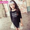 Los Niños coreanos Vestido de Ocio Niñas Carta de Gasa Vestido Nuevo Otoño Niños Ropa Blanco y Negro