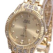 G & D Moda Reloj de Cuarzo Relogio Feminino Relojes de Las Mujeres Vestido de la Marca de Lujo Impermeable de Oro Reloj de Pulsera montre femme