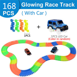 Image 4 - 88 648pcs DIY Assembly Electric Race Track Magic Rail Car Toys for Children Flexible Flash in the Dark Glowing Racing Track Car