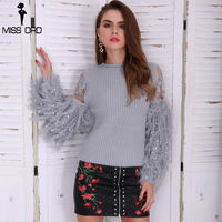 Missord 2019 Autumn And Winter Handwork Tassel Knitted Sweater Sweet Round Neck Long Sleeve Female Sweater FT8659