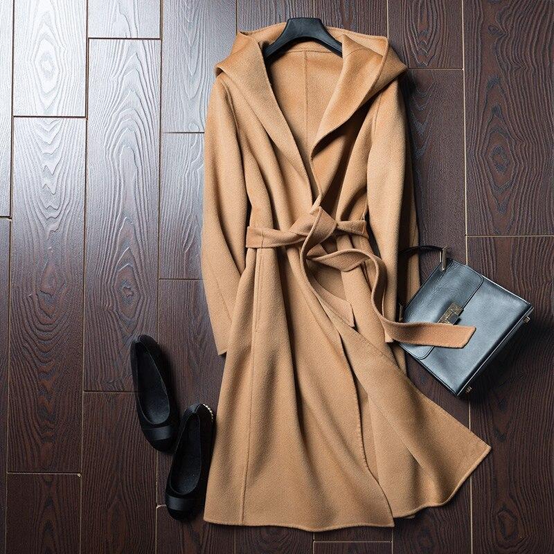Femmes de Taille Blelt Col Capuche 100% Pur Laine couche double Sur Les Femmes Manteau Long Manteau Automne Hiver 2018 #1711