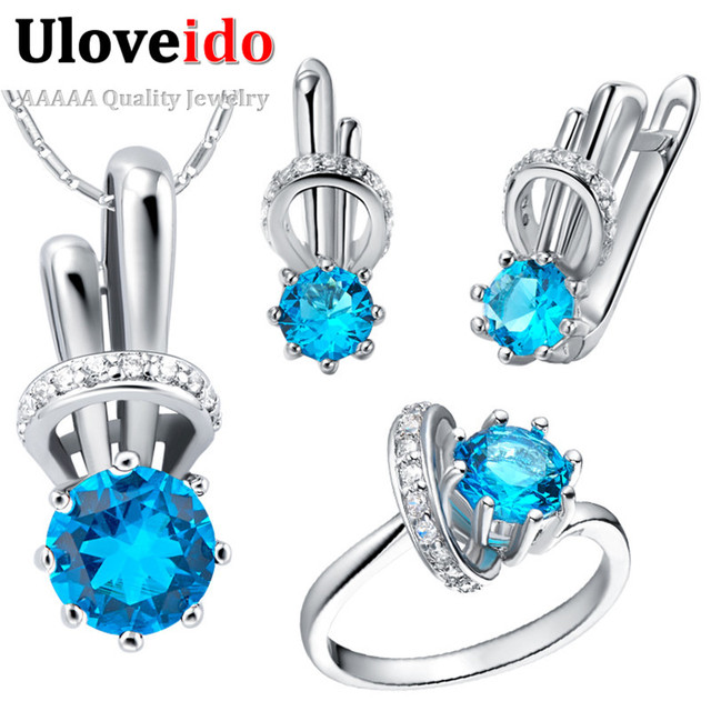 5 Colors Purple Red Women's Pink Rainbow Crystal African Wedding Jewelry Sets Silver Necklace Earrings Ring Set Ulove T225
