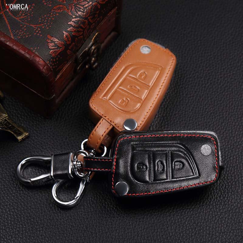 Hot sale classic design 100% Leather Keychain For Toyota Camry Highlander Corolla Prado REIZ Crown RAV4,3 Buttons remote control