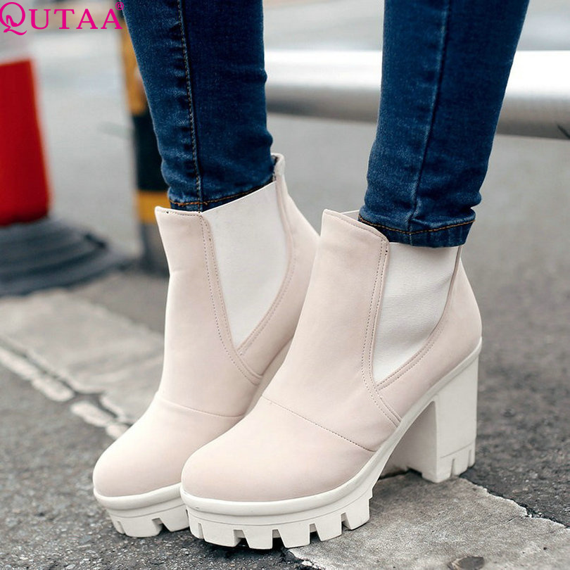 ФОТО QUTAA 2017 Fashion Women Boots Fashion Ankle Boots High Heeled Shoes Thick Heel Platform Motorcycle Wedding Snow Size 34-43