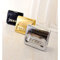 Women PU Leather Crossbody Bag Ladies Shoulder Bags Solid Small Messenger Mini Patent Leather Laser Rivet