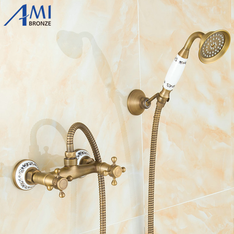 Wall Mounted Antique Brushed Brass Bath Faucets Bathroom Basin Mixer Tap Ceramic Crane With Hand Shower Head Shower Faucet new modern antique barss shower jet bath single handle tap ceramic w hand shower tap mixer faucet
