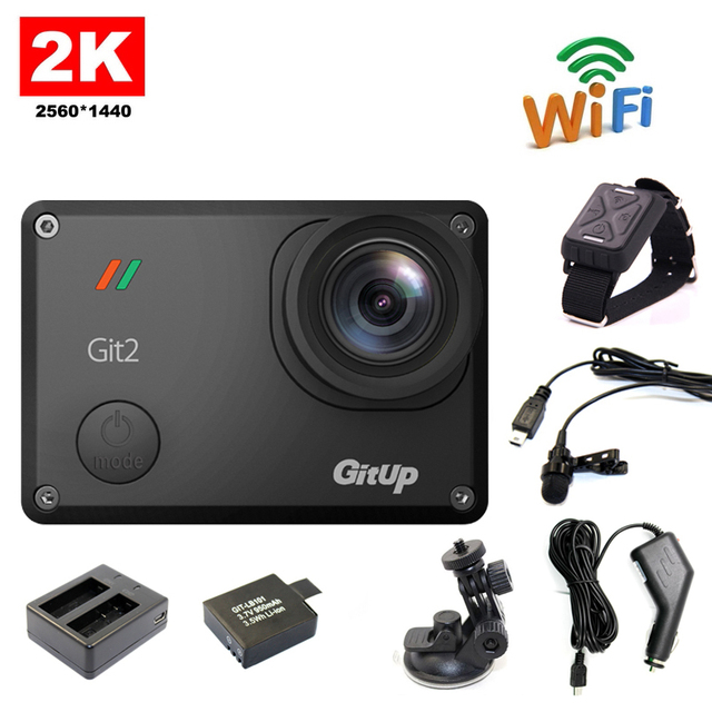 !! Gitup Git2 WiFi 2K Sport Action Cam+Extra 1pcs Battery+Battery Charger+Car holder+Car Charger+Mic+Remote Control