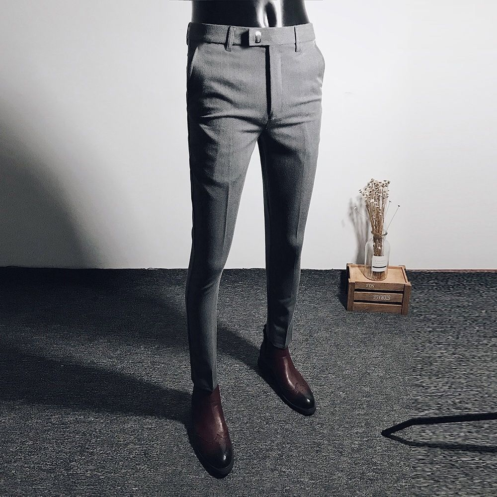 Spring Business And Leisure Trousers Men's Black Elastic Little Trousers Long Trousers In Autumn And Winter Long Trousers Korean