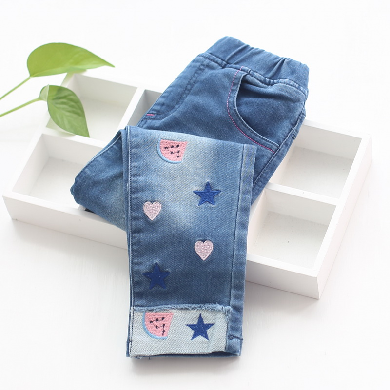2018 Fashion Girls Embroidery Denim Jeans Baby Soft Cotton Jeans Kids Spring Autumn Casual Trousers Child Elastic Waist Pants new fashion women slim jeans casual roses embroidery pencil pants female short trousers for ladies