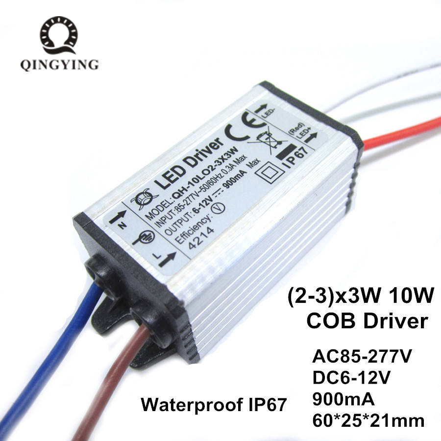 Waterproof IP67 LED Driver Power Supply 10W 900mA DC6-12V 2-3x3w Aluminum Case Lighting Transformers
