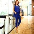 Marca Original 2016 Combinaison Femme Verão Tamanho Grande Cintura Fina Elegante Casual Mulheres Harem Macacões Tanque Azul Marinho Atacado