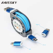 HAISSKY 3 in 1 Micro USB Cable Charging Data Sync Retractable Charger Type C Adapter For iPhone iOS HTC Xiaomi Huawei Android