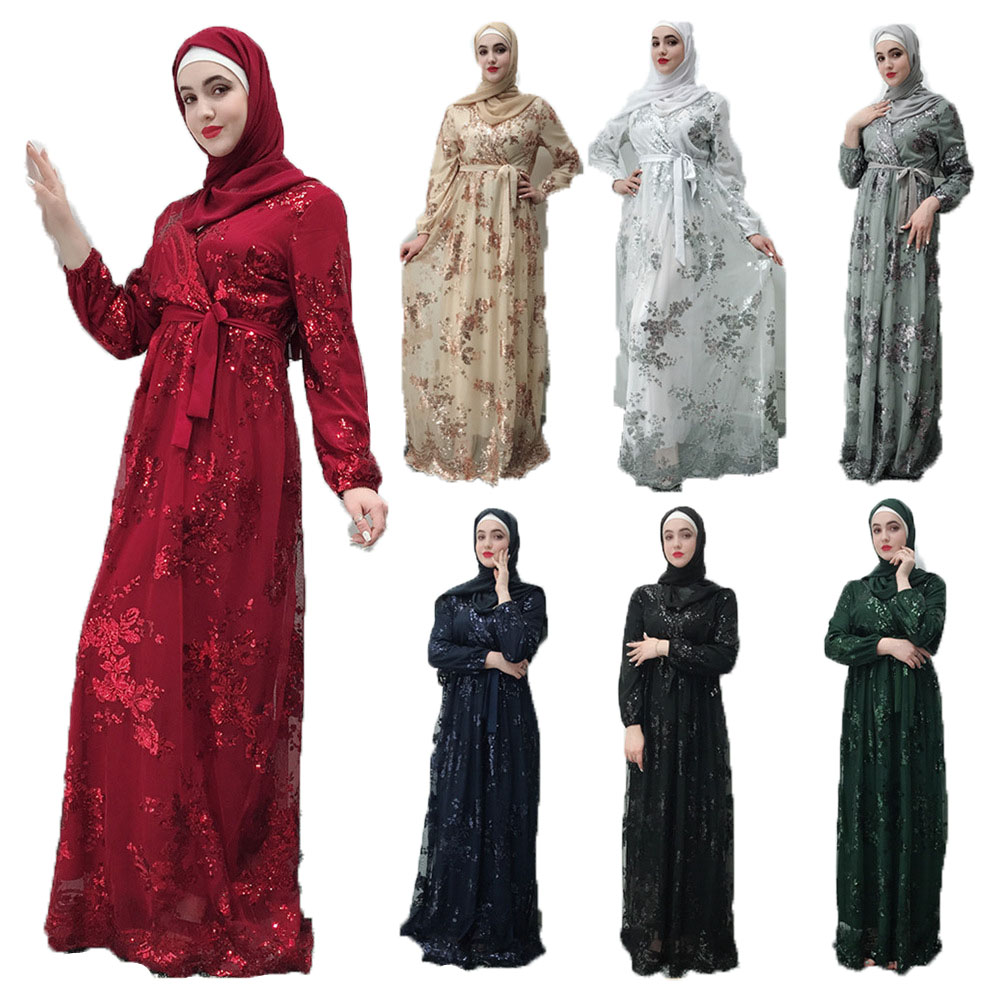 Luxury Muslim Lace Embroidery Bronzing Abaya Full Dresses Cardigan KimonoLong Robe Gowns Jubah Middle East Eid