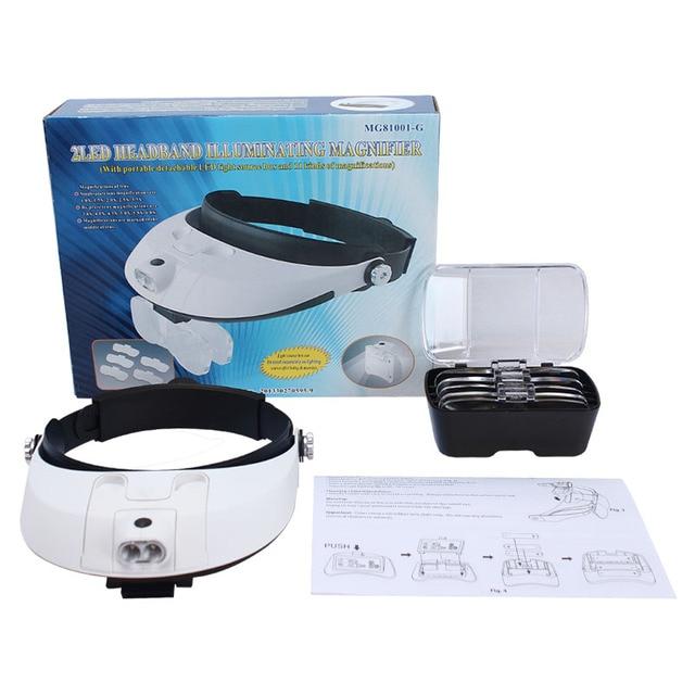Headband Binocular Magnifier Adjustable 5 Lens Eyeglasses 2 LED Repair Reading Magnifying Glass Third Hand Loupe Vision Aid Tool