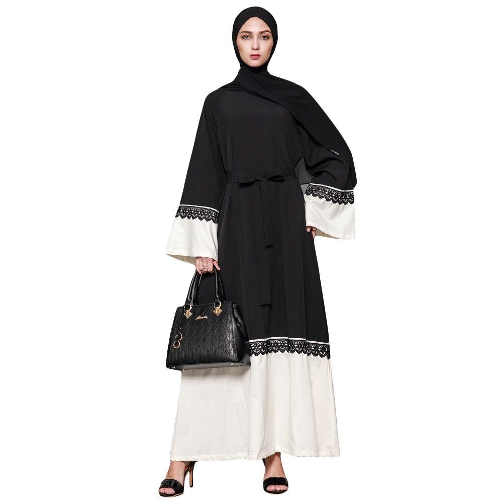 Online Shop New Women Muslim Maxi Dress Contrast Flare Sleeve Abaya Kaftan  Islamic Arab Robe Belted Muslim Women Long Dress Black Clothes  cec5774f8698