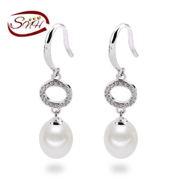 SNH 8-9mm drop AAA 925 sterling silver drop shape pearl earrings for women