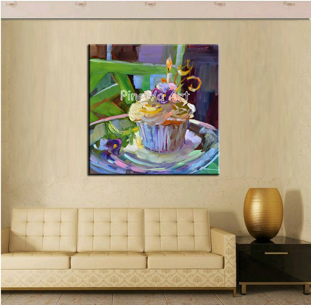 Large Modern canvas wall art handmade abstract birthday cake oil ...