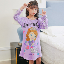 89045dcb03 Big Girl Nightdress New 2018 spring   autumn Fashion Princess Cartoon Long  Kids SleepDress Cotton Children