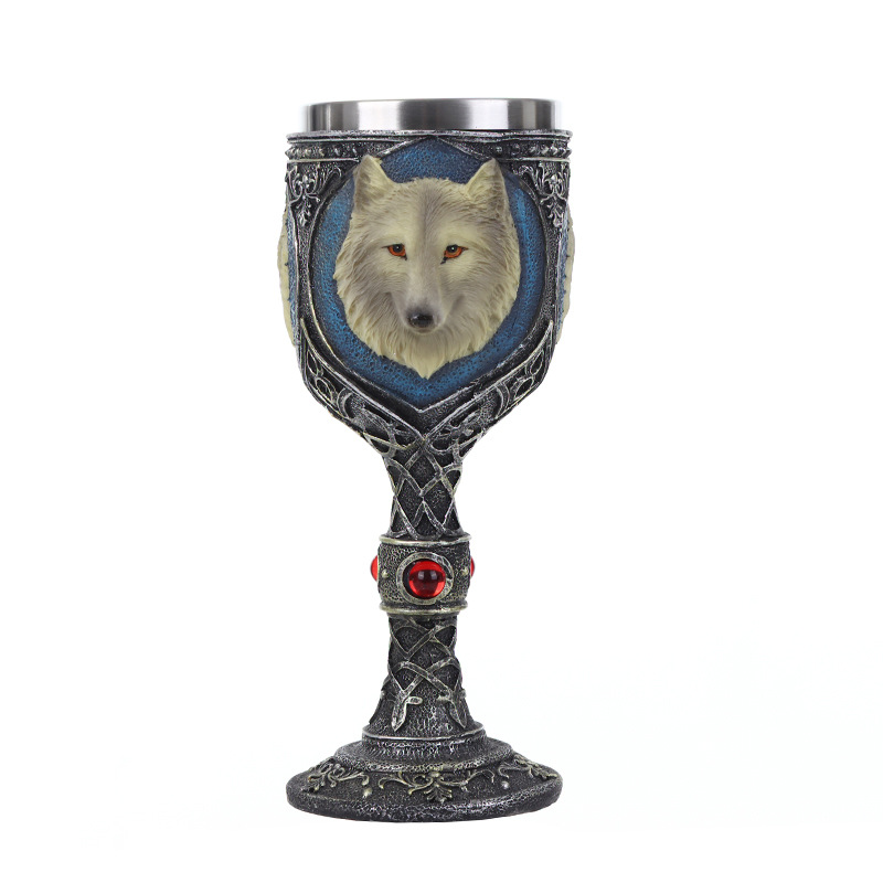 Game Of Thrones House Stark John Snow Wolf Resin Stainless Wine Glass Goblet Cup
