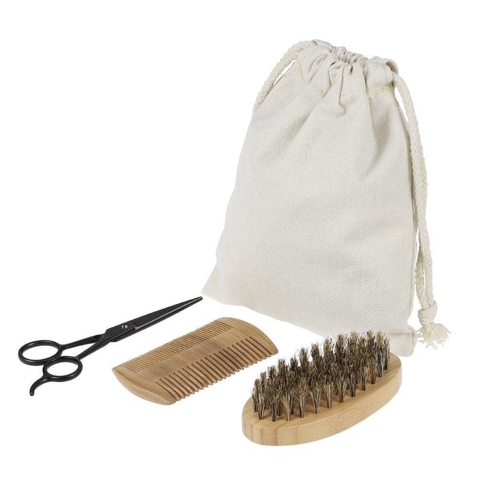 3pcs men 39 s beard brush kit set boar bristle shaving brush verawood beard comb mustache scissor. Black Bedroom Furniture Sets. Home Design Ideas