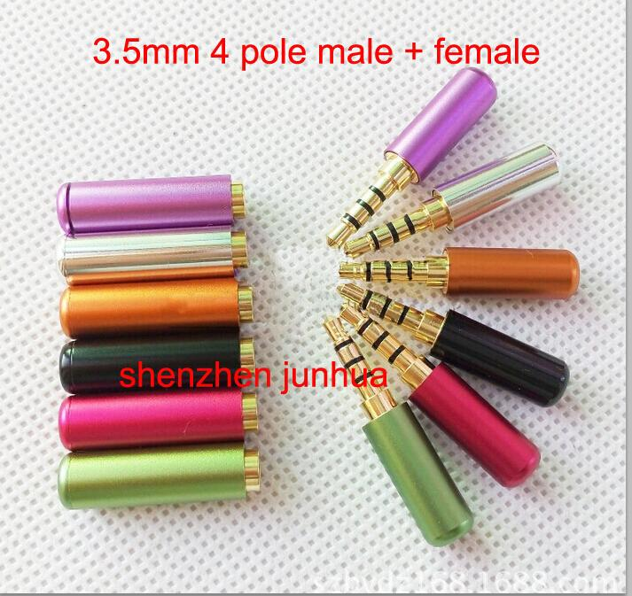 4 pair Colorful Aluminum New 3.5mm Male 4 Pole Stereo Plug + Female Headphone Jack Audio Connectors Soldering 5pcs lot neutrik new type nl4fx speakon 4 pole plug male audio speaker connectors