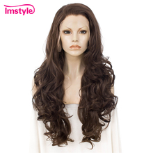 Imstyle Brown Wigs Synthetic Lace Front Wig Wavy Long Wigs For Women Natural Hairline Heat Resistant Fiber Cosplay Daily Wig