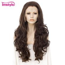 Imstyle 브라운 가발 합성 레이스 프론트 가발 물결 모양의 긴 가발 여성을위한 자연 헤어 라인 내열성 섬유 코스프레 데일리 가발