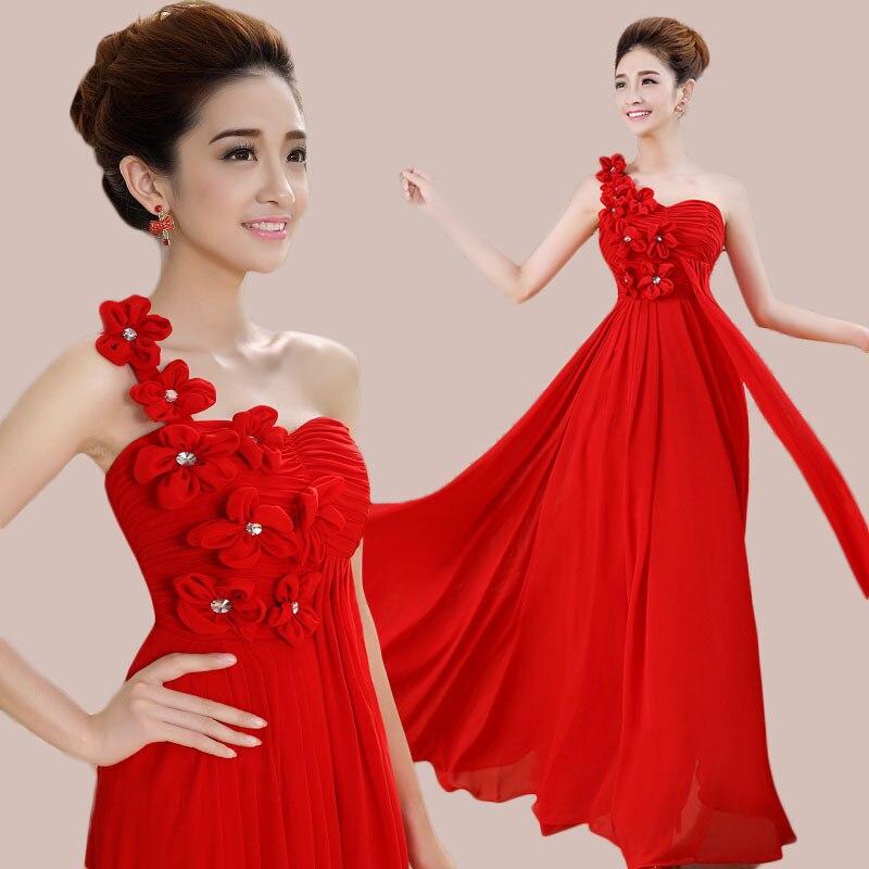 New Fashion Stock One Shoulder Chiffon Bridesmaid Dresses